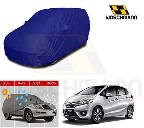 woschmann-blue-weatherproof-car-body-cover-for-outdoor-indoor-protect-from-rain-snow-uv-rays-sun-g10-with-mirror-pocket-compatible-with-honda-jazz