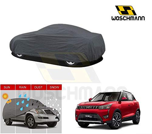 woschmann-grey-weatherproof-car-body-cover-for-outdoor-indoor-protect-from-rain-snow-uv-rays-sun-g9-with-mirror-pocket-compatible-with-mahindra-xuv300