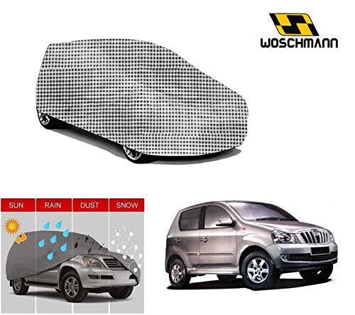 woschmann-checks-weatherproof-car-body-cover-for-outdoor-indoor-protect-from-rain-snow-uv-rays-sun-g9-with-mirror-pocket-compatible-with-mahindra-quanto