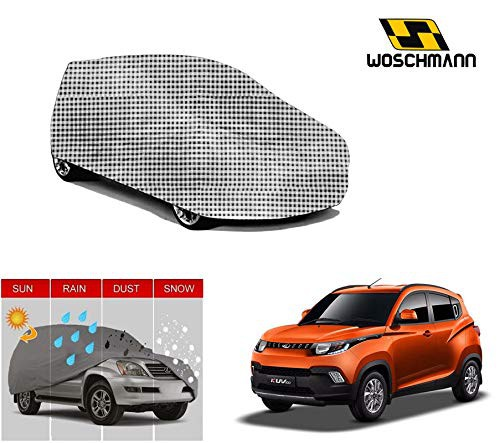 woschmann-checks-weatherproof-car-body-cover-for-outdoor-indoor-protect-from-rain-snow-uv-rays-sun-g11-with-mirror-pocket-compatible-with-mahindra-kuv100