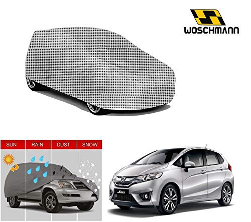 woschmann-checks-weatherproof-car-body-cover-for-outdoor-indoor-protect-from-rain-snow-uv-rays-sun-g10-with-mirror-pocket-compatible-with-honda-jazz