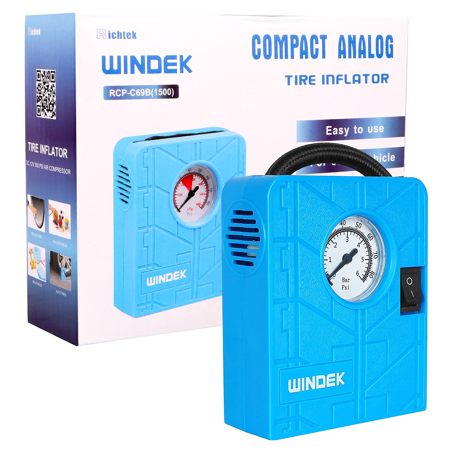 windek-1500-tyre-inflator-with-compact-design-inbuilt-gauge-fast-inflation-air-pump-for-all-car-heavy-duty-vehicle-bike-with-led-light-blue-universal