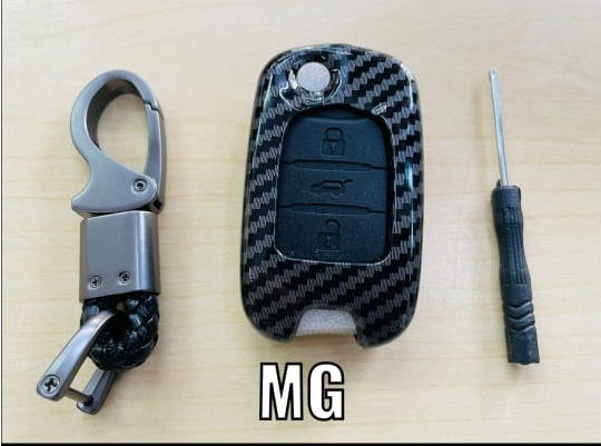 black-carbon-fiber-silicon-car-key-cover-for-mg-hector