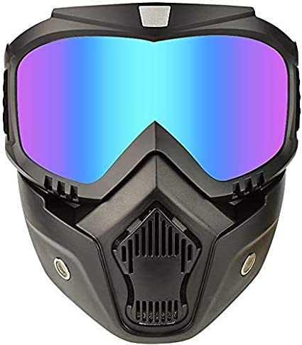 bike-riding-goggles-glasses-with-face-mask-dust-mask-with-detachable-motorcycle-and-mouth-filter-for-open-face-vintage-blue
