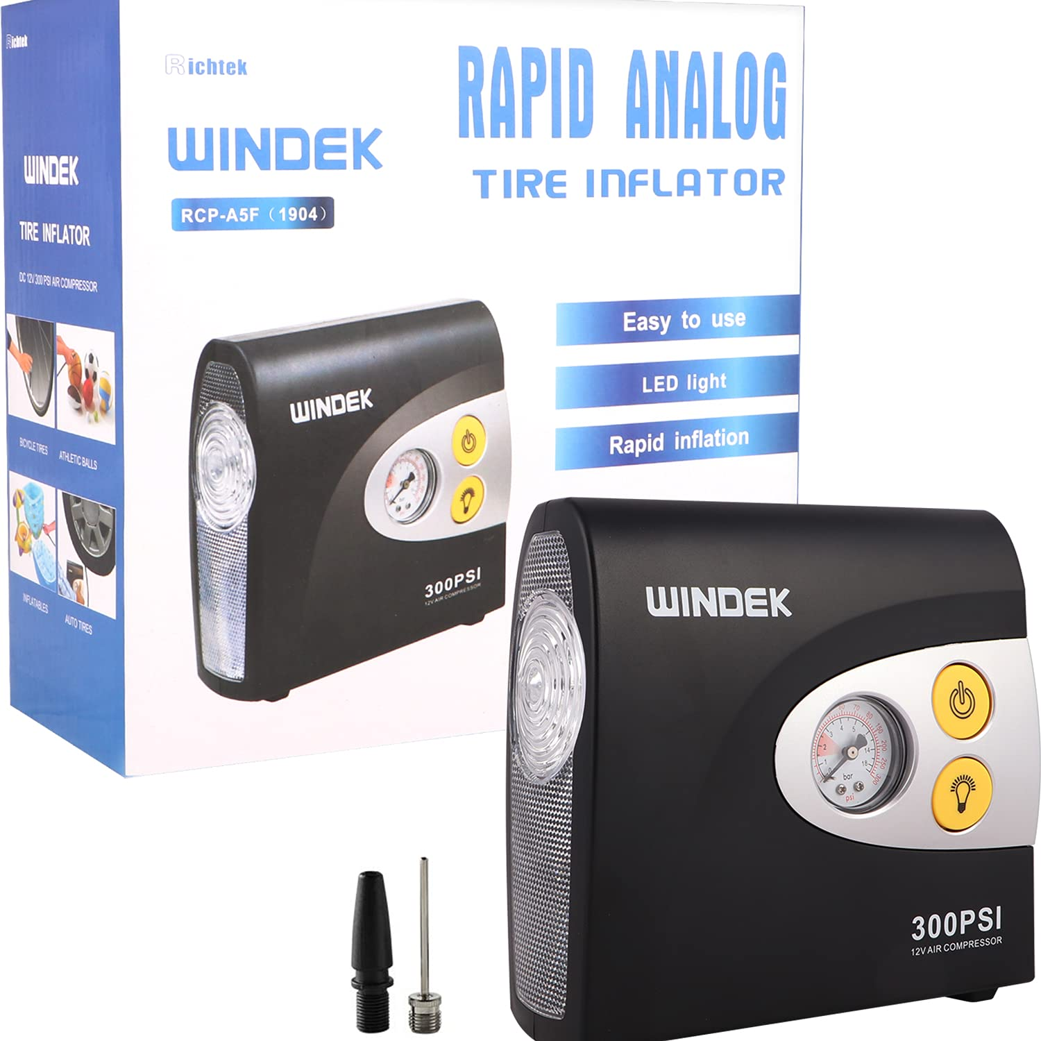 windek-1904-analog-tyre-inflator-with-compact-design-fast-inflation-air-pump-for-all-car-heavy-duty-vehicle-bike-with-led-light-universal
