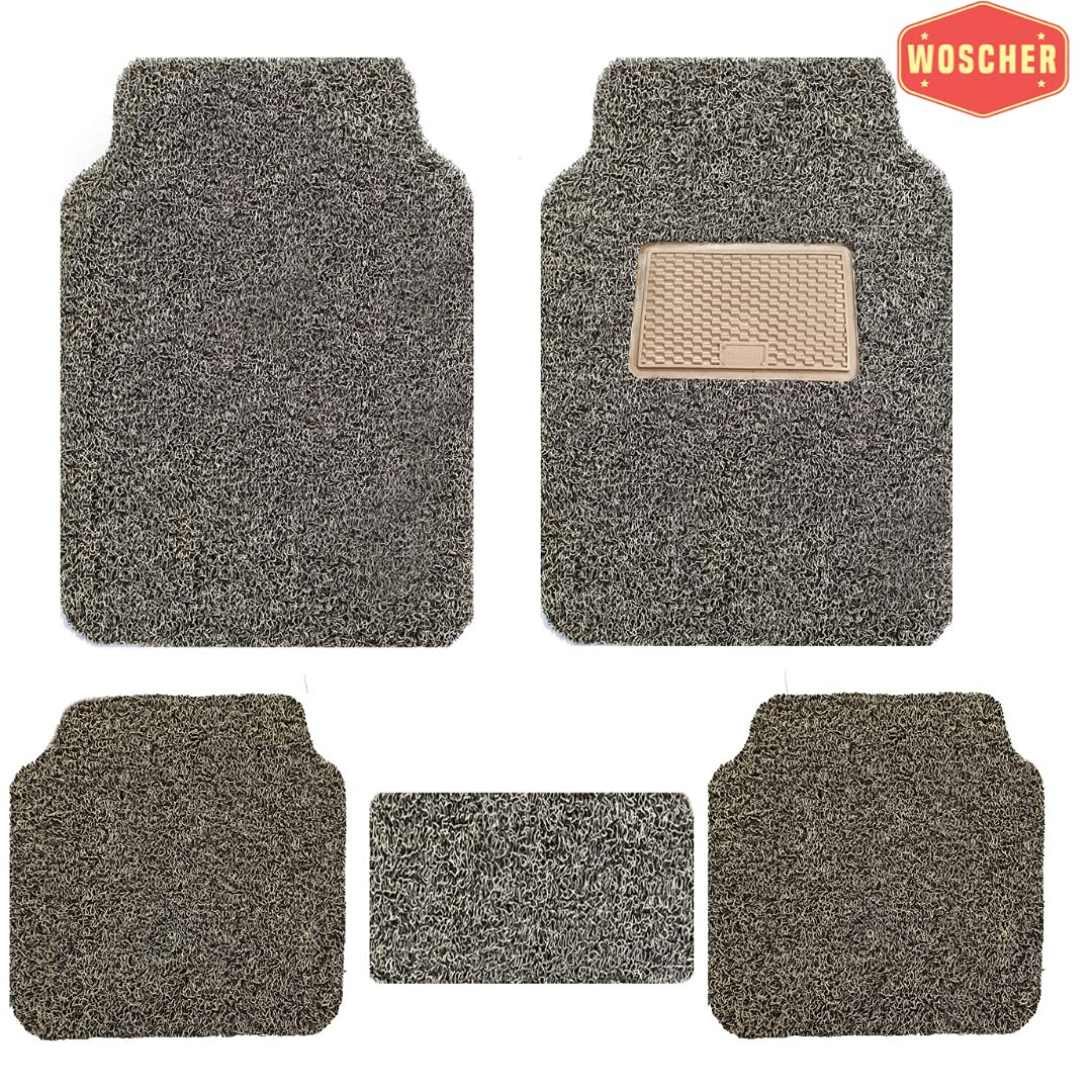 woscher-6280-anti-slip-curly-grass-car-foot-mat-universal-for-all-cars-self-cut-to-perfect-fit-set-of-5-beige-brown